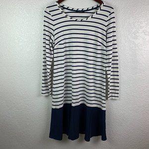 Tommy Hilfiger L Striped Scoop Neck Shift Dress